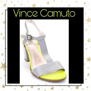 Vince Camuto Leather Ankle Strap Gray Sandals 8.5